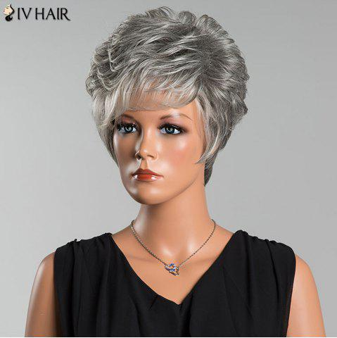 Fashion Siv Short Layered Colormix Side Bang Curly Human Hair Wig - COLORMIX  Mobile