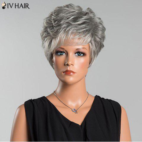 Unique Siv Short Layered Colormix Side Bang Curly Human Hair Wig - COLORMIX  Mobile