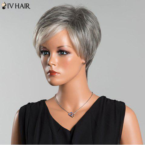 Outfit Siv Short Side Parting Colormix Fluffy Straight Human Hair Wig - COLORMIX  Mobile