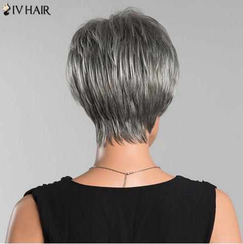 Online Siv Short Side Parting Colormix Fluffy Straight Human Hair Wig - COLORMIX  Mobile