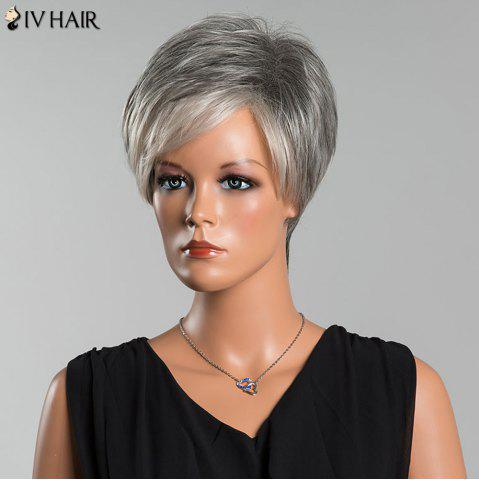 Fashion Siv Short Side Parting Colormix Fluffy Straight Human Hair Wig - COLORMIX  Mobile
