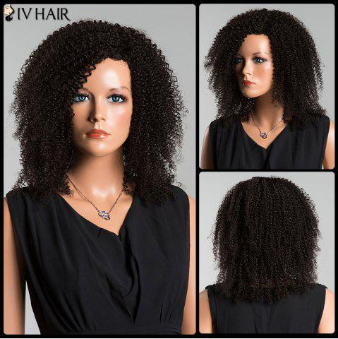 Shops Siv Side Parting Medium Kinky Curly Human Hair Wig JET BLACK