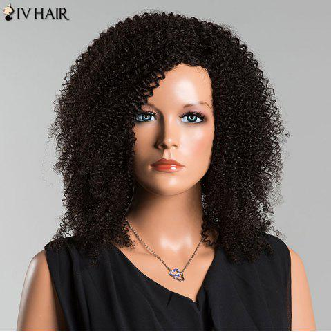Outfit Siv Side Parting Medium Kinky Curly Human Hair Wig - JET BLACK  Mobile