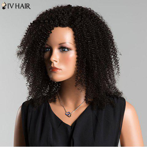 Discount Siv Side Parting Medium Kinky Curly Human Hair Wig - JET BLACK  Mobile