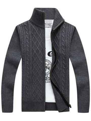 Online Stand Collar Zip-Up Cable Knitted Cardigan GRAY 3XL
