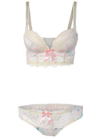 Best Floral Push Up Bra Set with Lace OFF WHITE 75B