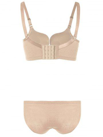 Sale Push-Up Underwired Adjustable Bra Set - 75B YELLOWISH PINK Mobile