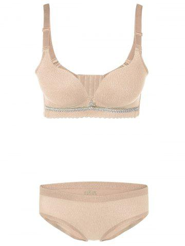 Cheap Push-Up Underwired Adjustable Bra Set - 75B YELLOWISH PINK Mobile
