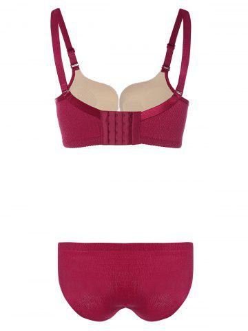 Online Push-Up Underwired Adjustable Bra Set - 75B WINE RED Mobile