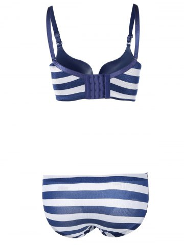 Buy Padded Striped Color Block Push Up Bra Set - 75B BLUE Mobile