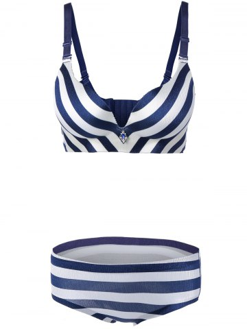 Trendy Padded Striped Color Block Push Up Bra Set - 75B BLUE Mobile