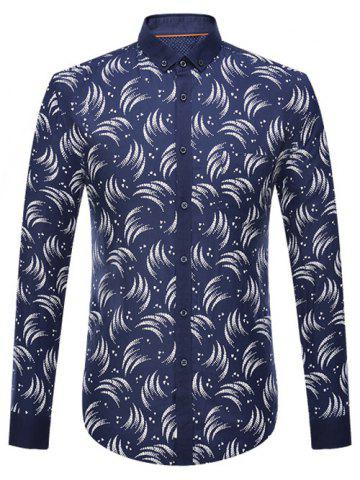 Store Circinate Print Long Sleeve Button-Down Shirt CADETBLUE 4XL