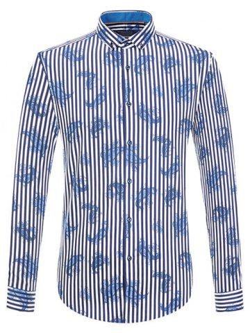 Vertical Stripe and Paisley Print Long Sleeve Button-Down Shirt