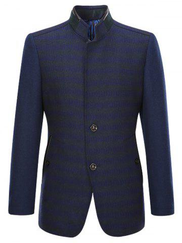 Shops PU-Leather and Rib Splicing Stand Collar Single-Breasted Woolen Coat CADETBLUE 2XL