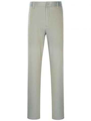 Store Zipper Fly Slimming Simple Straight Leg Pants GRAY 37