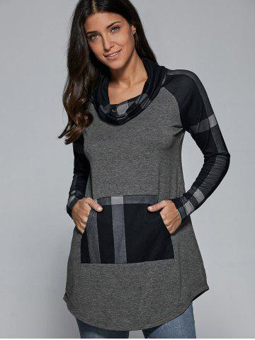 Latest Cowl Neck Plaid Patchwork Pullover