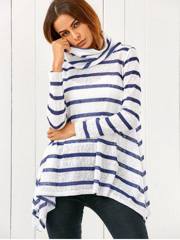 Outfits Cowl Neck Asymmetrical Striped Pullover
