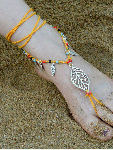 Handmade Feuille perlé Layered Toe Anklet Orange