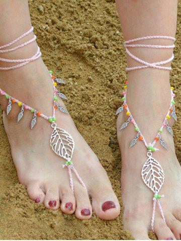 Handmade Feuille perlé Layered Toe Anklet ROSE PÂLE