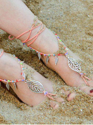 Shop Handmade Leaf Beaded Layered Toe Girl Hippie Anklet