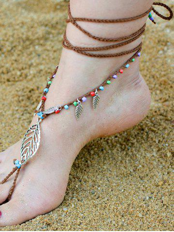 Sale Handmade Leaf Beaded Layered Toe Girl Hippie Anklet - GOLD BROWN  Mobile