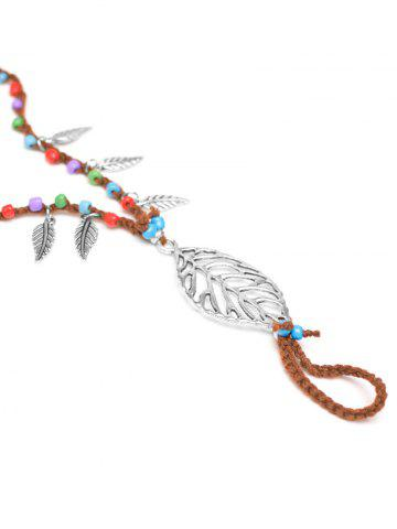 Latest Handmade Leaf Beaded Layered Toe Girl Hippie Anklet - GOLD BROWN  Mobile