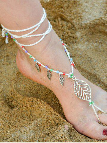 Latest Handmade Leaf Beaded Layered Toe Girl Hippie Anklet