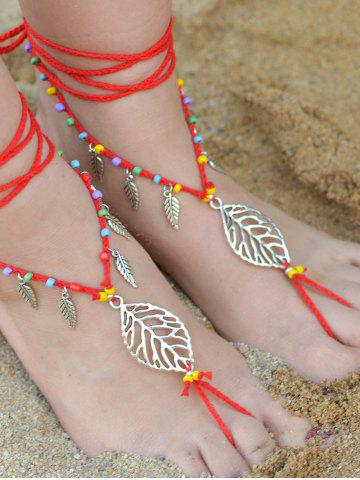 Outfits Handmade Leaf Beaded Layered Toe Girl Hippie Anklet RED