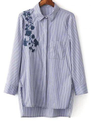 Latest Striped High Low Embroidered Shirt BLUE AND WHITE S