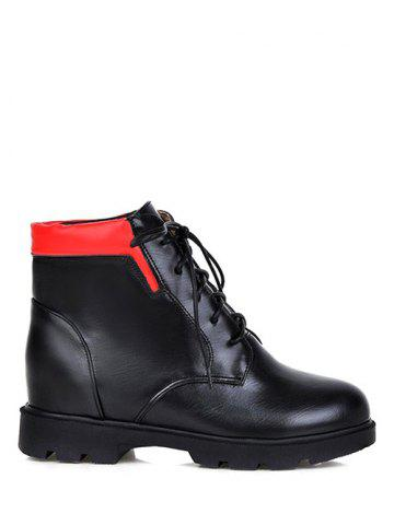 Fashion Color Spliced Increased Internal Platform Ankle Boots
