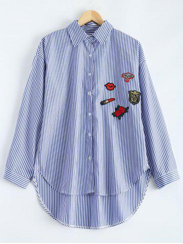 Store High-Low Striped Embroidered Shirt BLUE 5XL