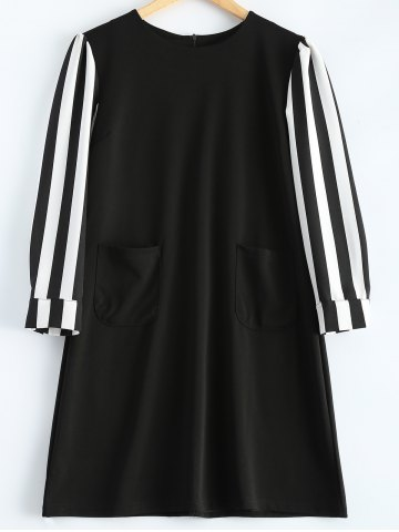 Store Striped Long Sleeve A-Line Dress BLACK 4XL