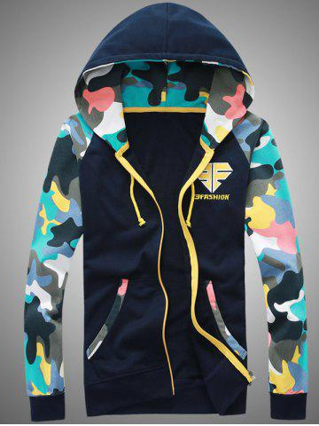 Best Camouflage Splicing Embroidered Hooded Zip-Up Hoodie CADETBLUE M