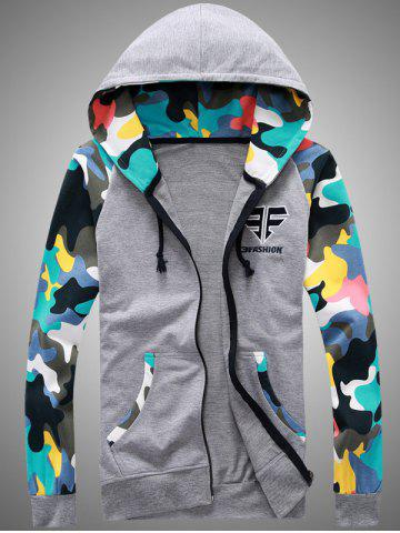 Buy Camouflage Splicing Embroidered Hooded Zip-Up Hoodie - M GRAY Mobile