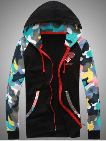 Camouflage Splicing Embroidered Hooded Zip-Up Hoodie - Black - S