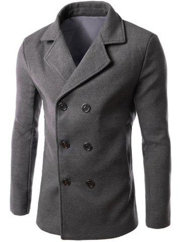 Fashion Double Breasted Lapel Collar Wool Blend Coat GRAY 3XL