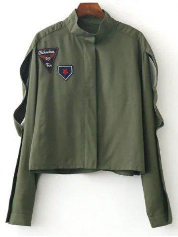 Chic Funnle Collar Jacket ARMY GREEN M