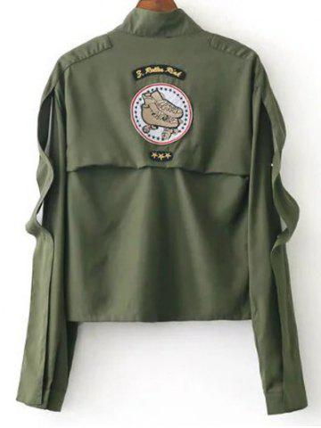 Shop Funnle Collar Jacket - S ARMY GREEN Mobile
