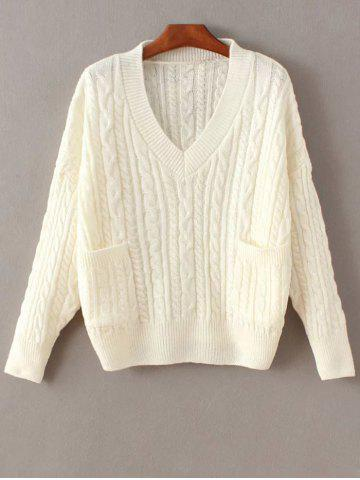 Shops Cable Knit Double Pocket V Neck Sweater