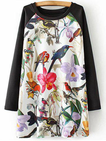Best Plus Size Bird Floral Print Tunic Dress