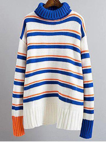 Turtle Neck Pullover Jumper Striped Sweater - Blue And White - One Size