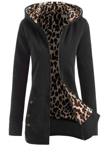 Outfit Zipper Fly Thicken Leopard Pattern Hoodie BLACK GREY S