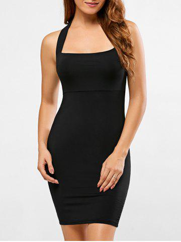 Fancy Backless Halter Club Sheath Dress BLACK S