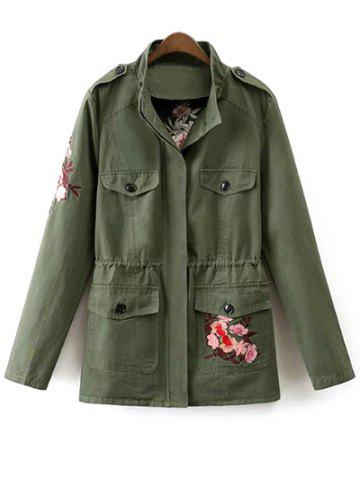 Buy Stand Neck Tiger Embroidered Military Jacket