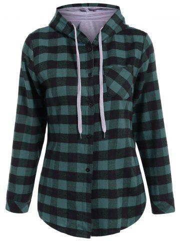 Online Plaid Pocket Design Buttoned Hoodie BLACK AND GREEN 2XL