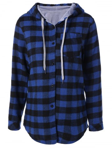 Cheap Plaid Pocket Design Buttoned Hoodie BLUE AND BLACK 2XL