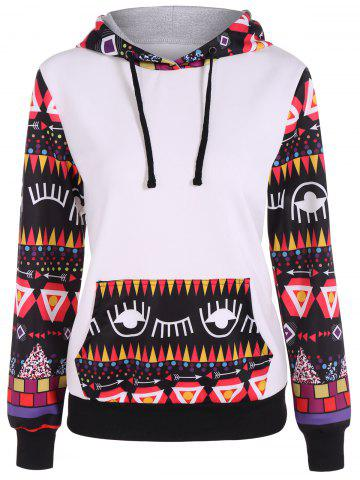 Affordable Long Sleeve Geometric Halloween Pullover Hoodie - L WHITE Mobile