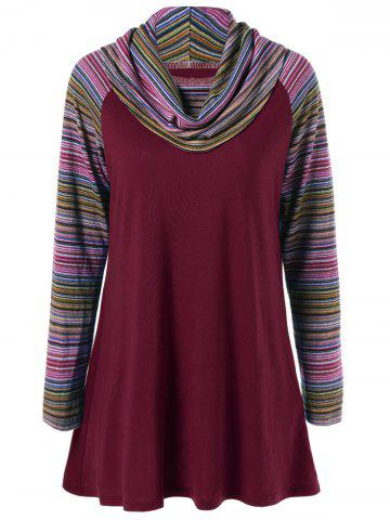 Discount Cowl Neck Colorful Striped T-Shirt WINE RED XL