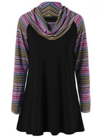 Cheap Cowl Neck Colorful Striped T-Shirt BLACK XL