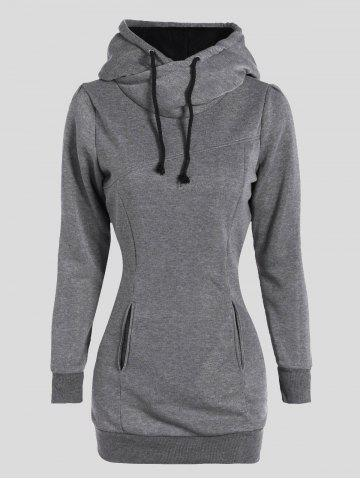 Shop Slimming Pullover Pockets Design Hoodie GRAY 2XL